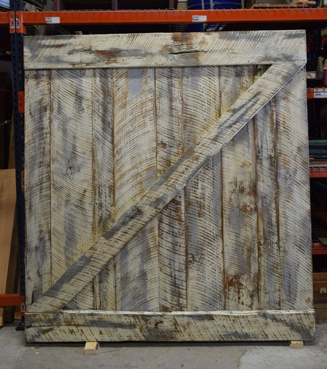 Full Rear View Custom Creation Barn Door   Visit our Wood Shop Today!