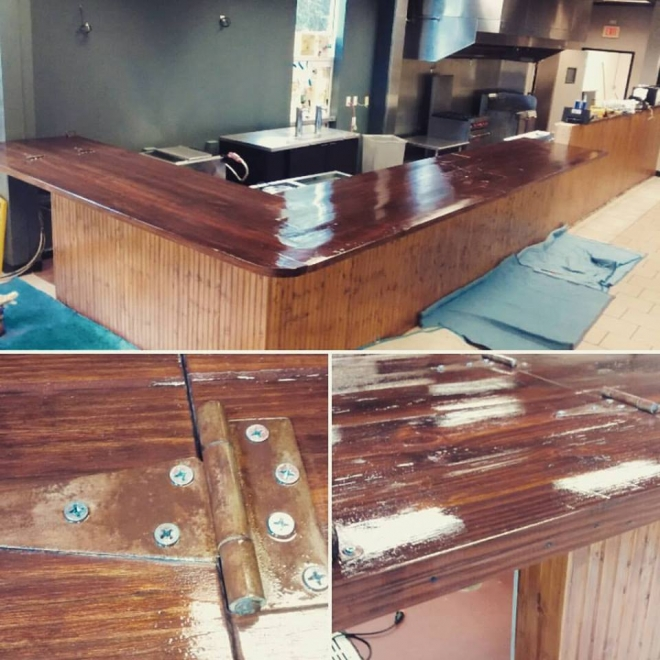 L Shaped Bar Top for the Press Restaurant built in our Wood Shop by Billy Leeka