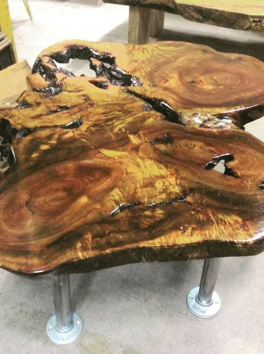 Live Edge cookie slab table, built in our Wood Shop by Billy Leeka