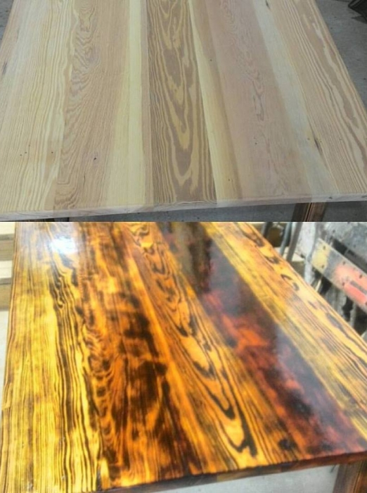 Flame polish table, before and after, built in our Wood Shop by Billy Leeka
