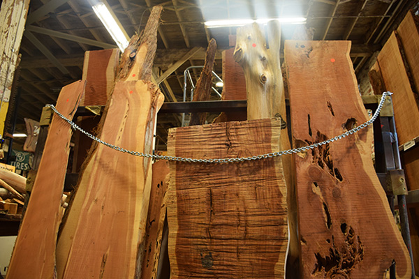 Live edge slab lumber