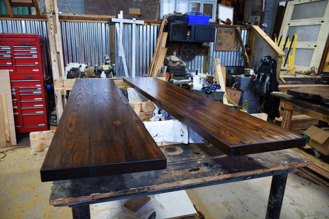 Custom Farm Table bench seat tops nearing completion.