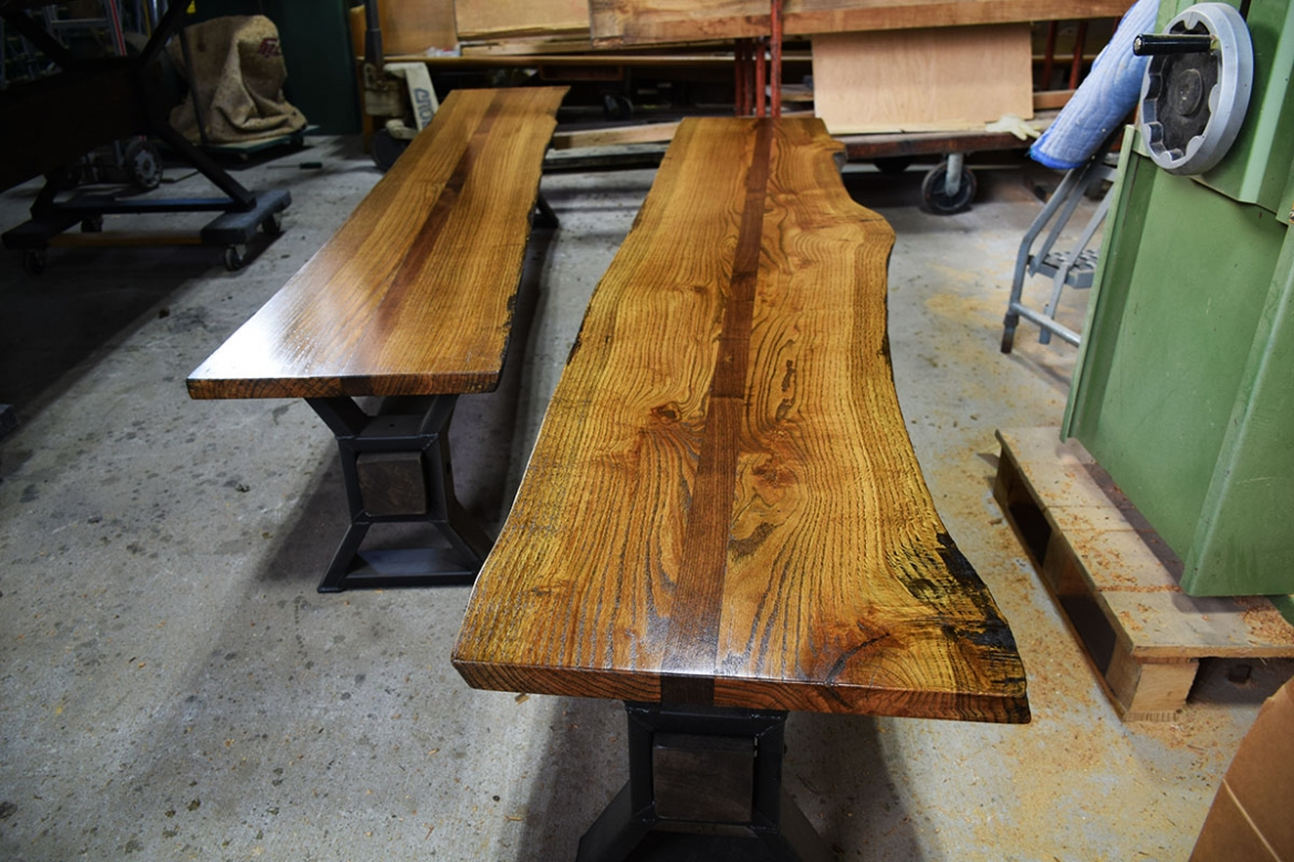 Custom Live Edge Table Benches finished