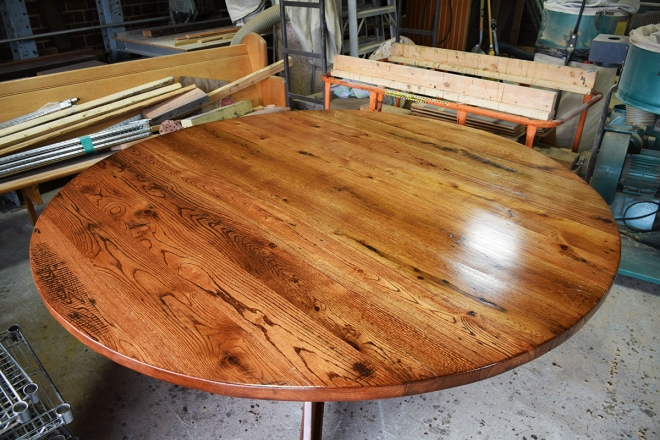 Custom round top table with a beautiful finish.
