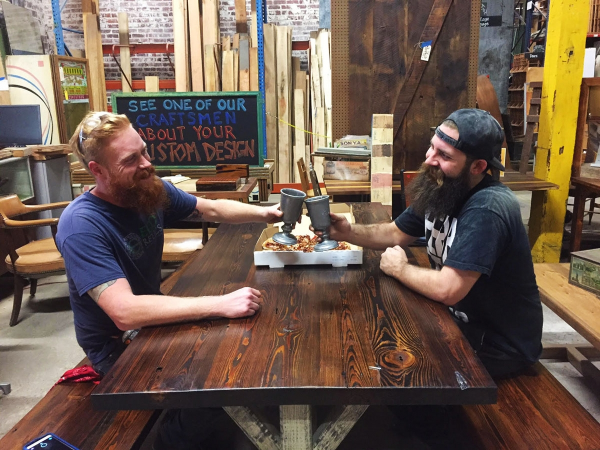 Parker and Nate celebrate the completion of another fine Custom Farm Table!