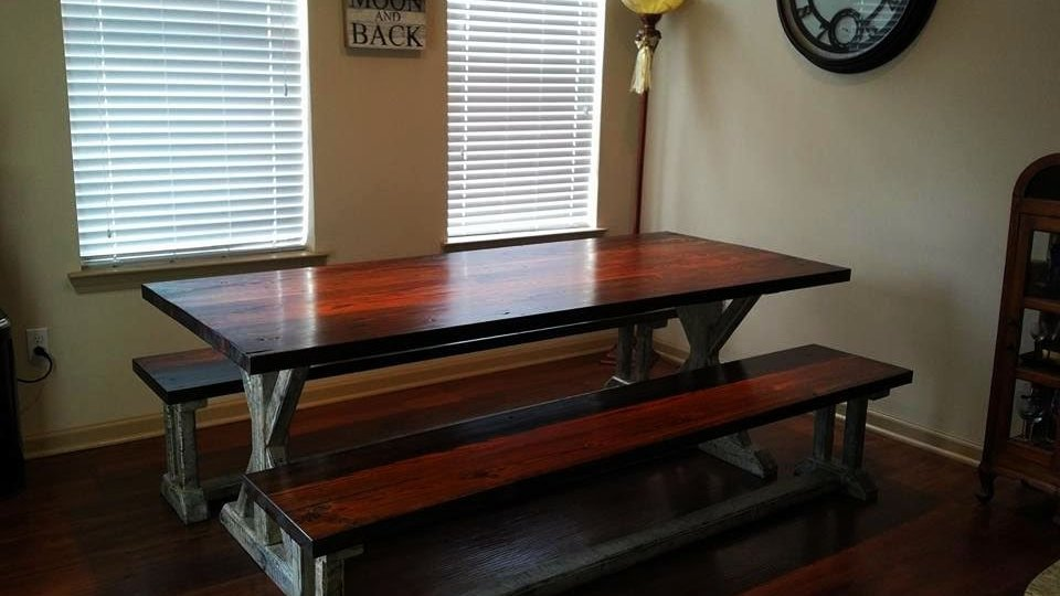Finished Custom Farm table with benches finds its' forever home! Notice how closely the table top matches the flooring!
