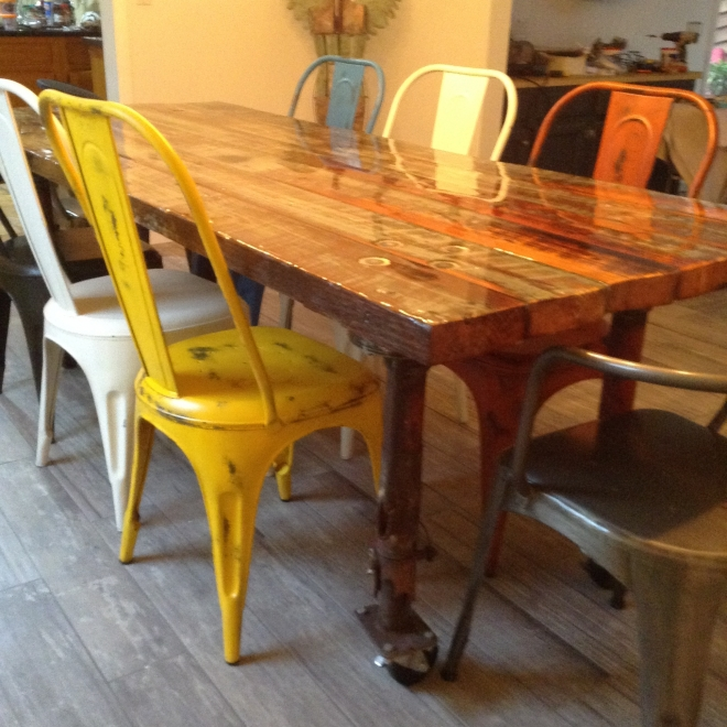 Table from Salvaged Lumber and Industrial legs