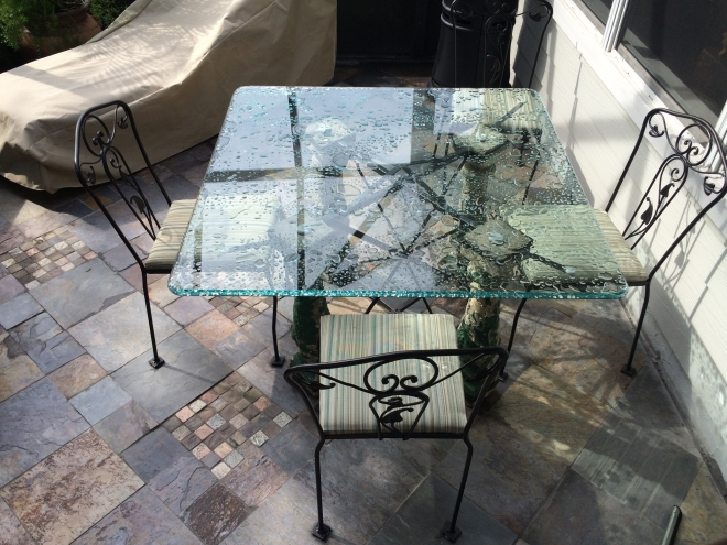 Ornamental iron and concrete base and legs