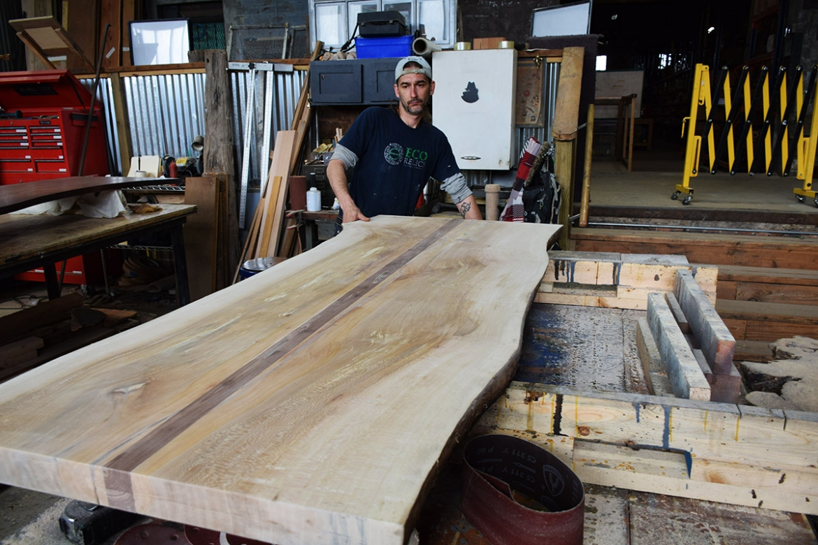Sycamore and Walnut Table top getting it's inspection by Billy before finishing.
