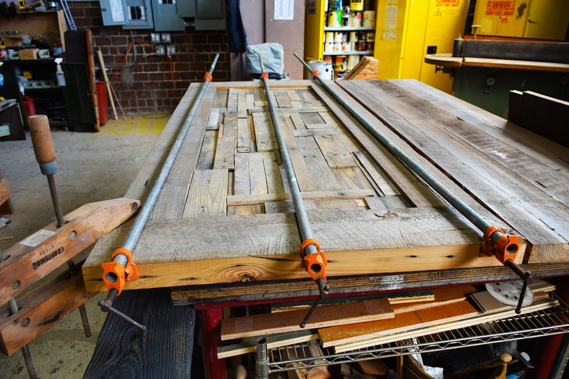 Parker Custom Pallet Wood Headboard in the Clamps
