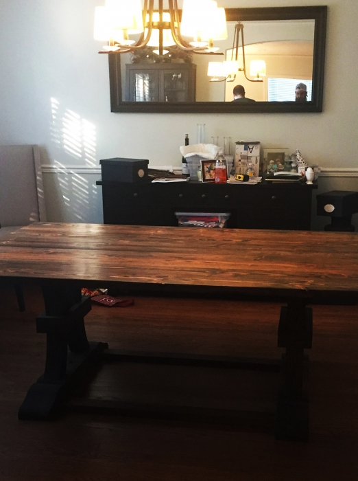 The finished table has found its' forever home!