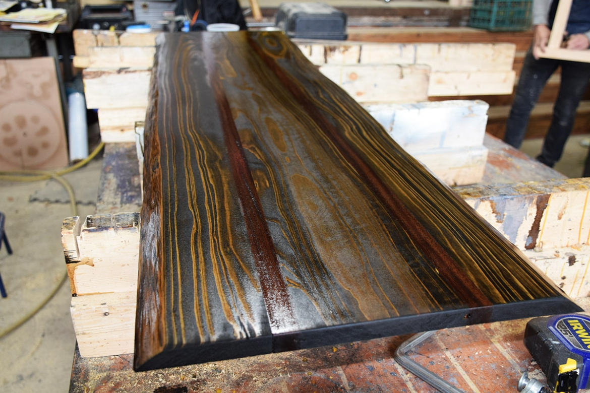 Sapele and Cypress bench top nearly finished