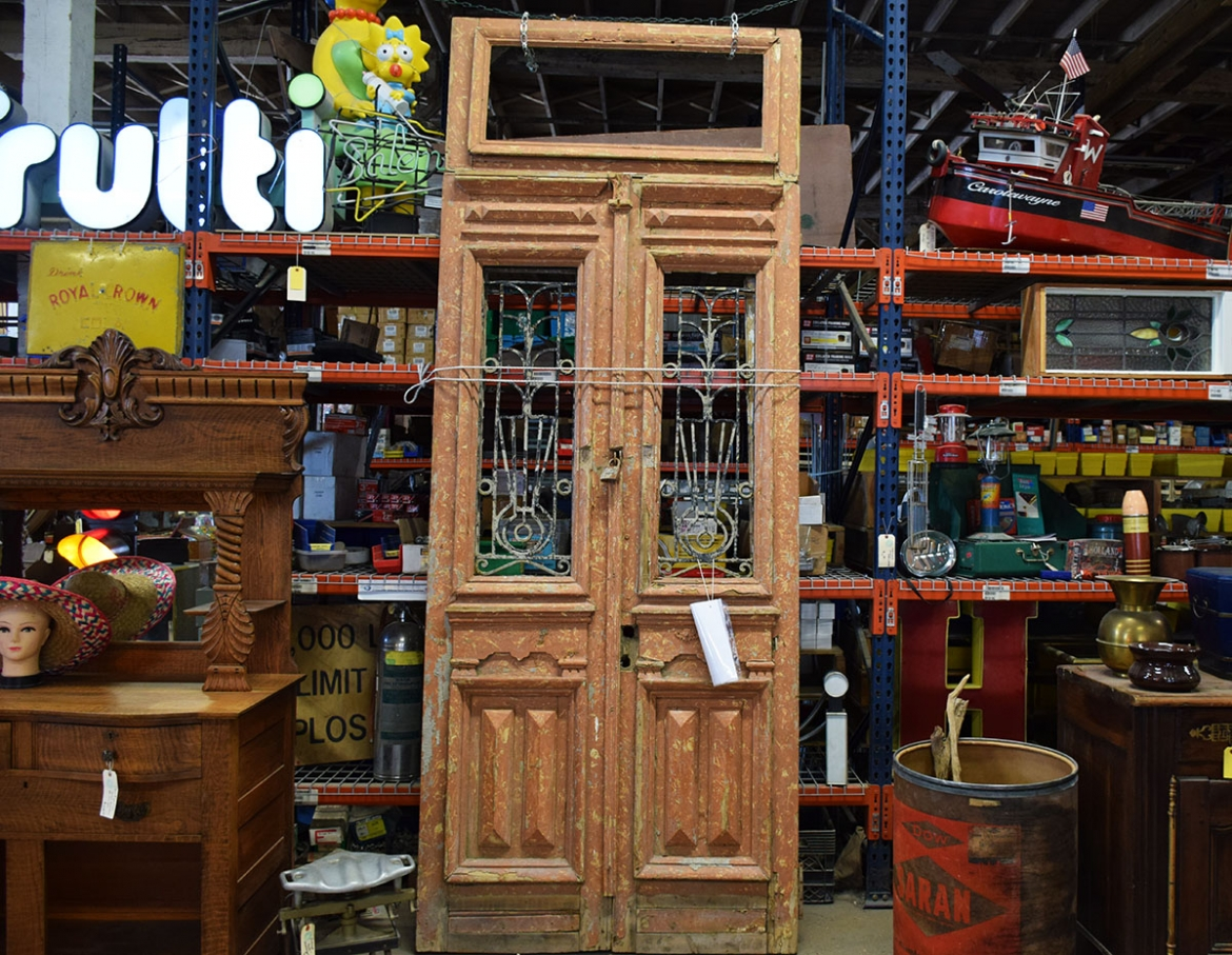 This door is very tall and includes the transom.