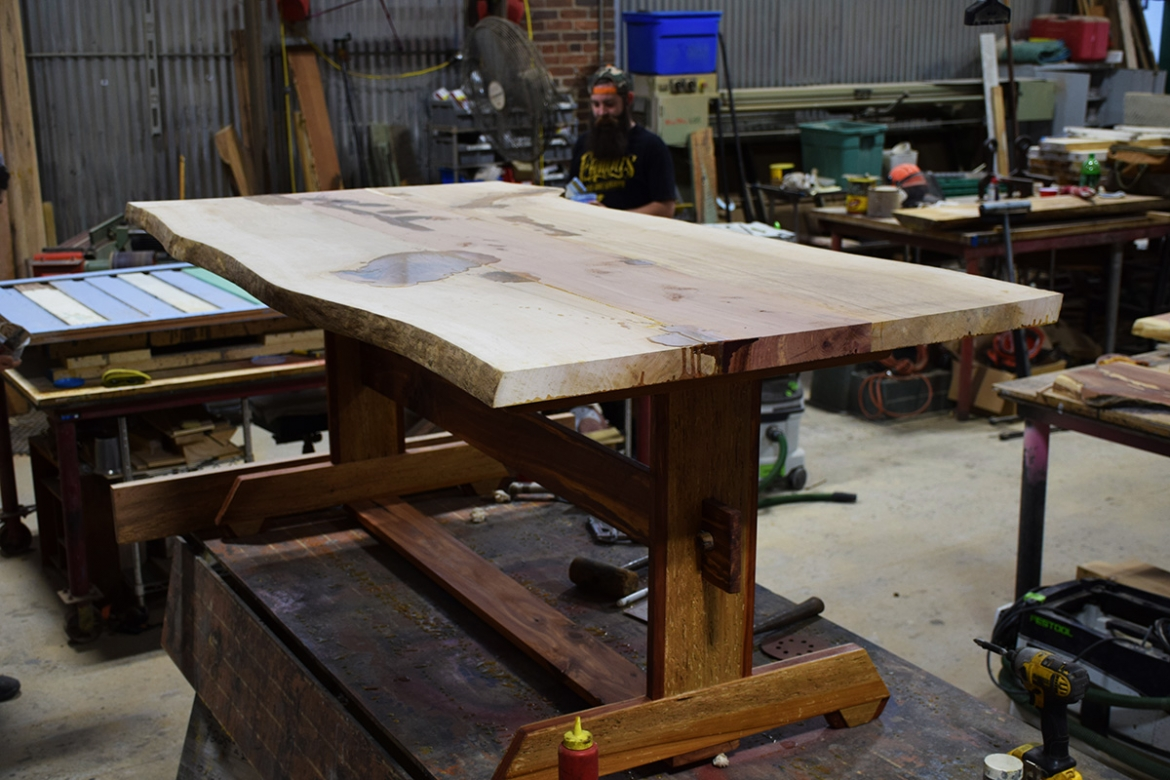 Sycamore and Cedar Table with the base now attached.