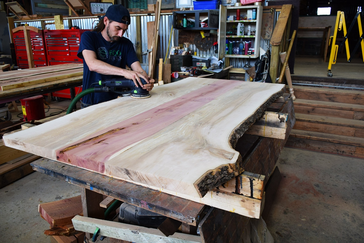 Billy sanding the Sycamore and Cedar Table top.