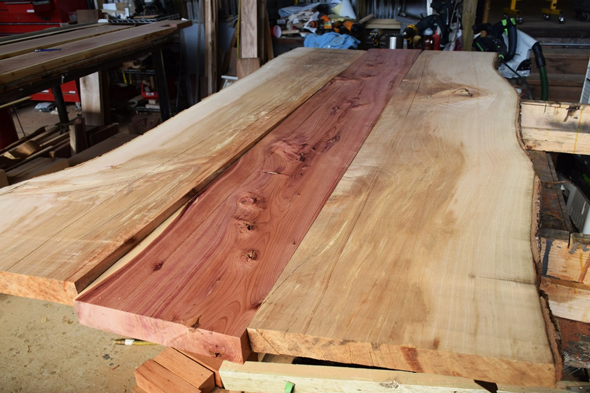 Live edge Sycamore and Cedar slabs for the table top.