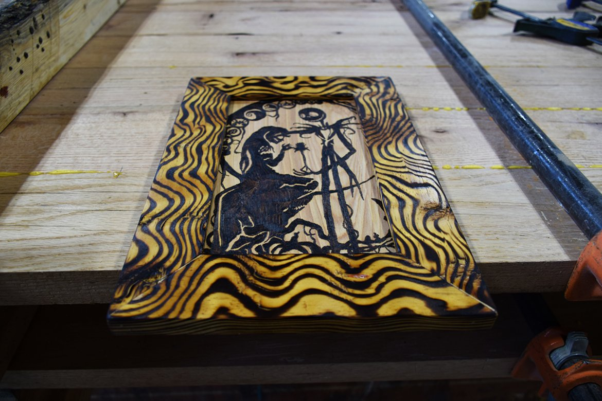 Picture frame created for local Pyrographer, Roni Luebkert.