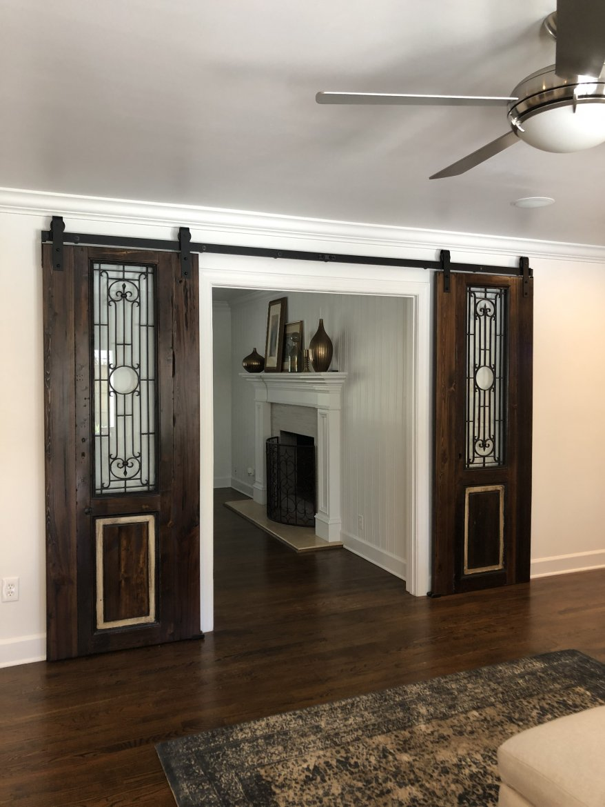 Customized Antique Egyptian Barn Doors in their new home, stunning!