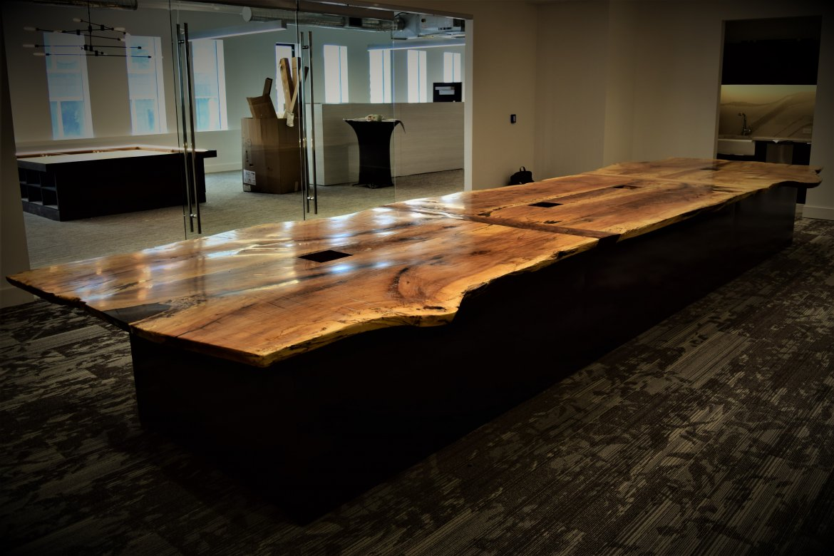 Finished conference table in its new home 9 floors up!