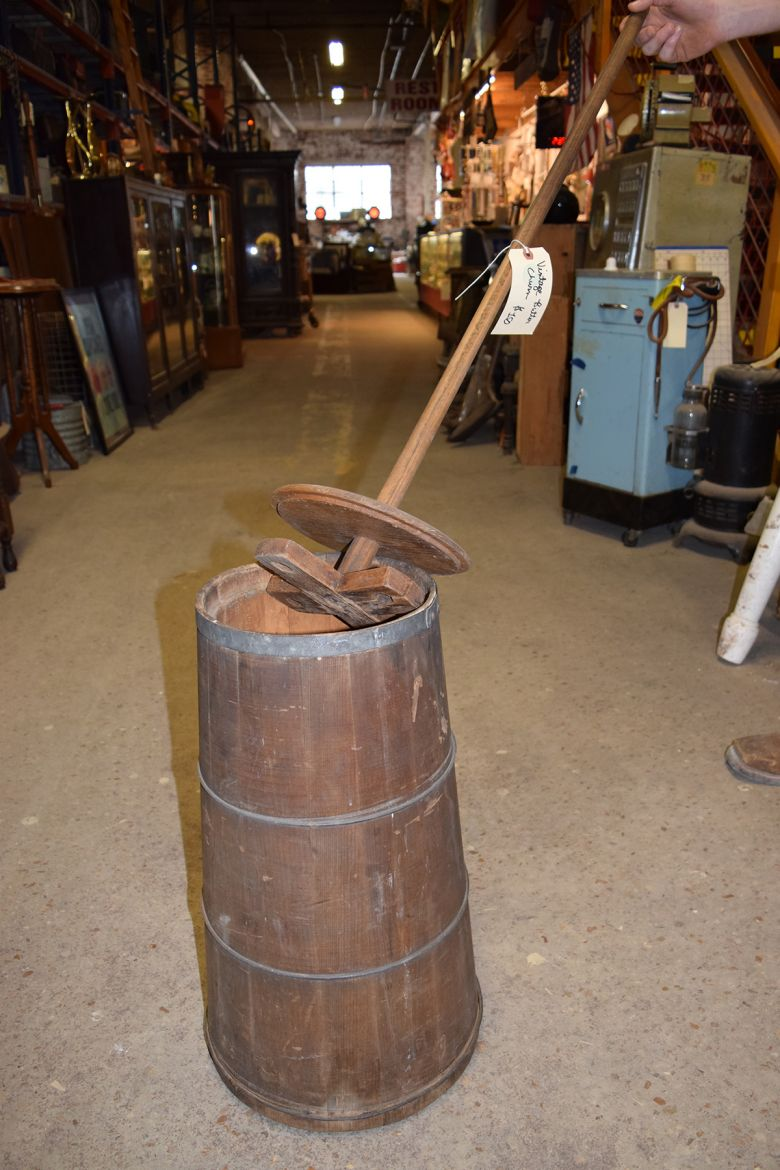 The first butter churns were made of wood