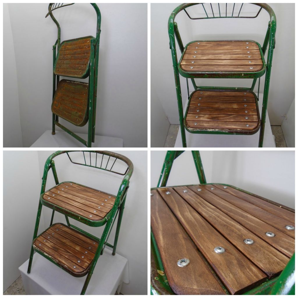 green step stool collage