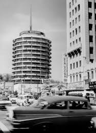 Becket's iconic Capital Records building, 1956
