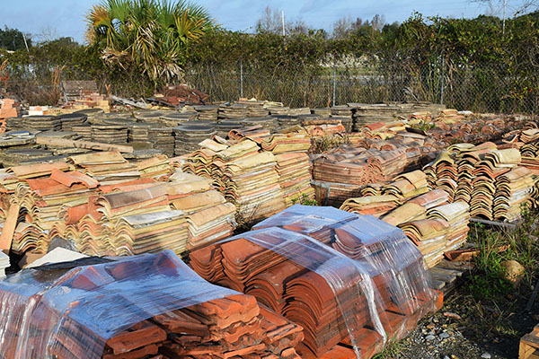 Salvaged clay roof tiles